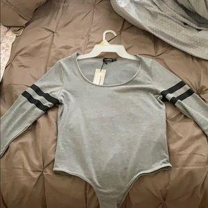 Amy Baseball Stripe Scoop Neck Bodysuit